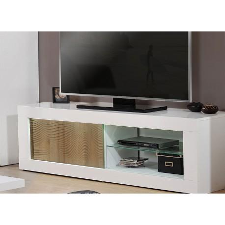 Meuble tv design chêne clair et blanc laqué à led