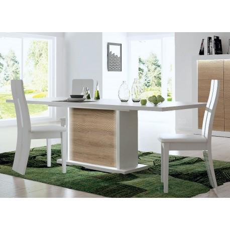 Table à manger blanc laquée et bois extensible à led