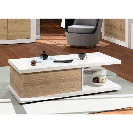 Table basse rectangulaire rangement bois et blanc laqué