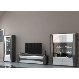 Ensemble tv design blanc et gris laqué à led
