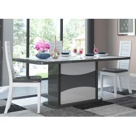 Table à manger avec allonge blanche et grise laquée