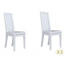Chaises design blanc laqué et sérigraphie grise