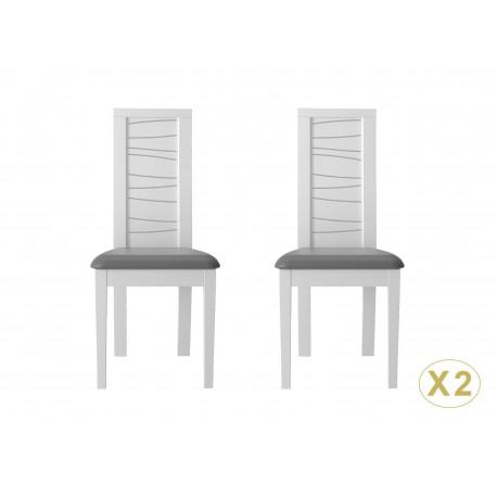 Chaises design blanches et grises avec sérigraphie grise