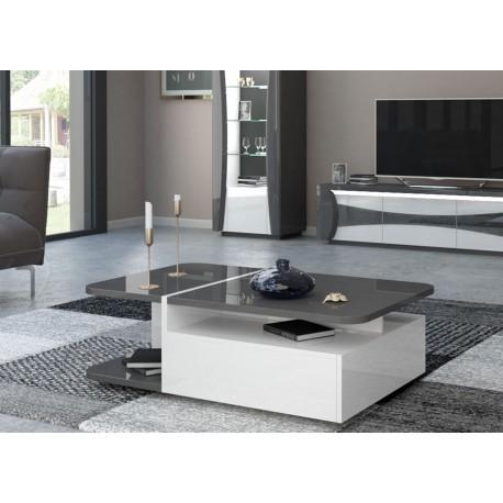 Table basse 1 tiroir blanc et gris laqué