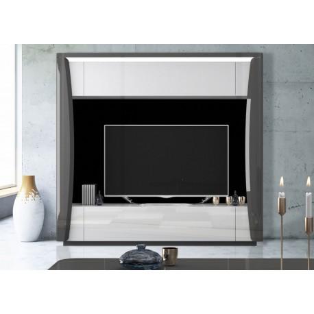 Meuble tv living design blanc et gris laqué