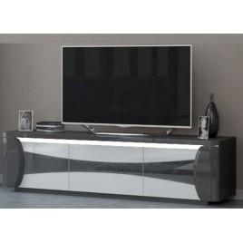 Meuble tv design blanc et gris laqué à led 1m80
