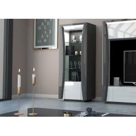 Meuble rangement salon blanc et gris laqué à led