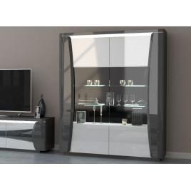 Meuble vitrine 2 portes blanc et gris laqué à led
