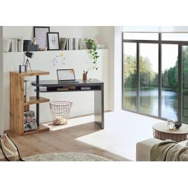 Bureau moderne gris laqué mat et chêne
