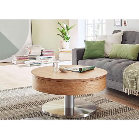 Table basse ronde modulable bois et inox brossé
