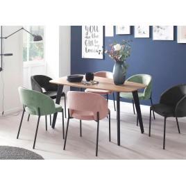 Table à manger en bois et métal noir forme organique
