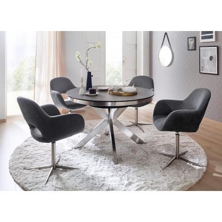 Table à manger ronde céramique anthracite et pied acier brossé