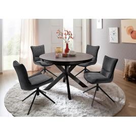 Table à manger ronde céramique anthracite et pied acier noir