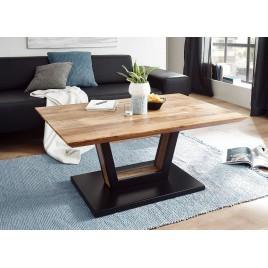Table basse rectangulaire bois massif acacia et pied métal noir