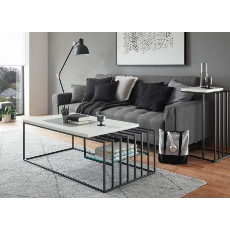 Table basse design blanc laqué mat et métal noir