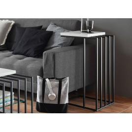 Table d'appoint design blanc laqué mat et métal noir