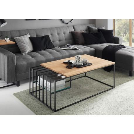 Table basse design chêne massif et métal noir