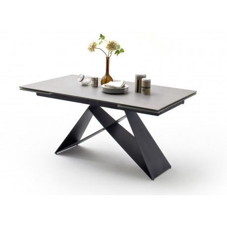 Table à manger extensible 160-240 cm gris clair et métal noir