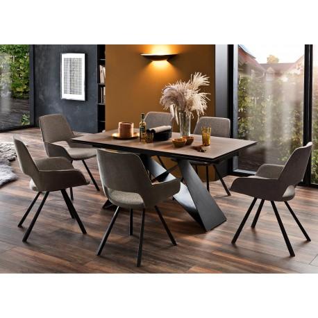 Table à manger extensible 160-240 cm bois foncé et métal noir