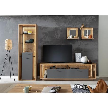 Meuble TV design gris et chêne poutre