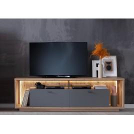 Meuble télé design 2m05 gris et chêne poutre