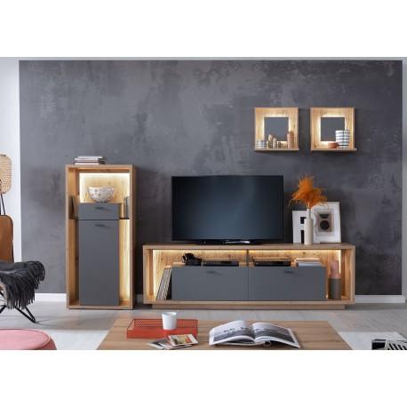 Ensemble TV design gris et chêne poutre