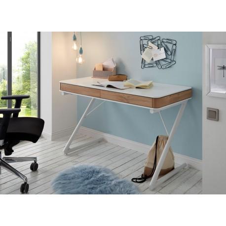 Bureau laqué blanc mat et décor chêne 2 tiroirs