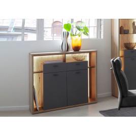 Buffet haut design gris et bois 2 portes et 2 tiroirs
