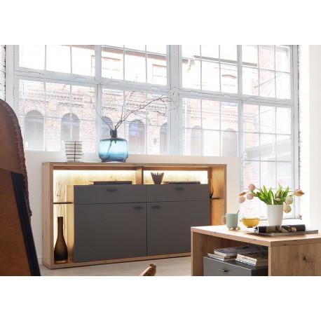 Meuble buffet design 1m56 gris et bois