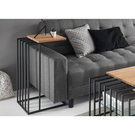 Table d'appoint design chêne massif et métal noir