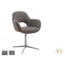 Chaise pivotante cappuccino ou grise et pied acier brossé avec dossier ajouré
