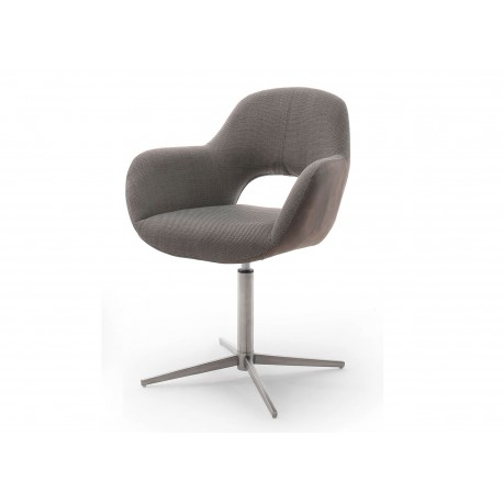 Chaise pivotante cappuccino et pied acier brossé avec dossier ajouré