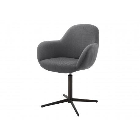 Chaise pivotante anthracite et pied noir avec dossier ajouré