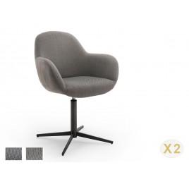 Chaise pivotante anthracite ou cappuccino et pied noir avec accoudoirs