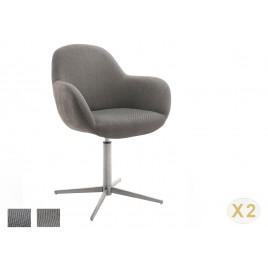 Chaise pivotante anthracite ou cappuccino et pied acier brossé avec accoudoirs