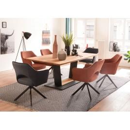 Table de salle à manger plateau chêne massif 160-180 ou 200 cm