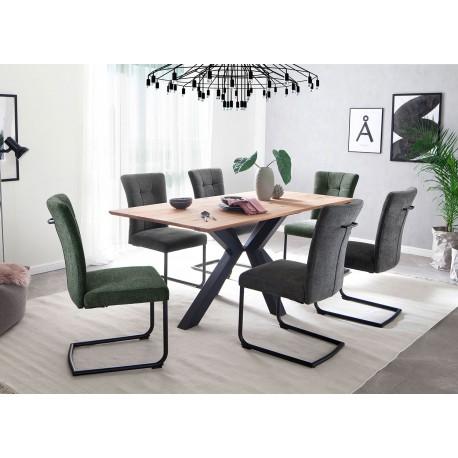 Table à manger bois massif et piétement central métal noir
