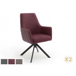 Lot de 2 chaises pivotantes avec accoudoirs bi-matière 3 couleurs