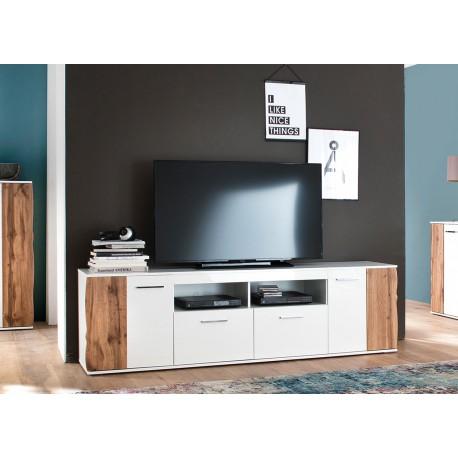 Meuble TV design blanc et bois 2 portes et 2 tiroirs 2m03