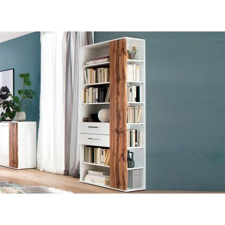 Meuble étagère bibliothèque blanche et bois avec rangements