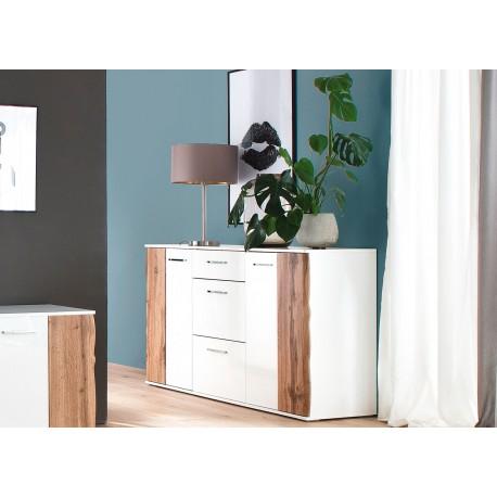 Buffet design blanc et bois 2 portes et 3 tiroirs