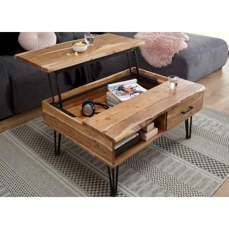 Table basse avec plateau relevable et pied épingle métal noir
