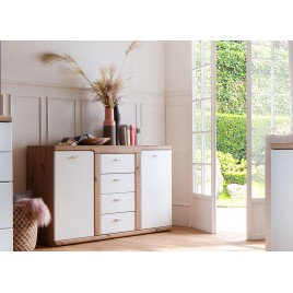 Buffet moderne 4 tiroirs et 2 portes blanc et décor chêne