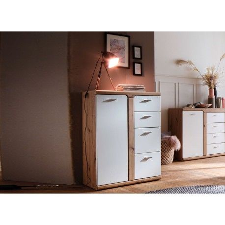 Meuble de rangement 4 tiroirs et 1 porte blanc et décor chêne