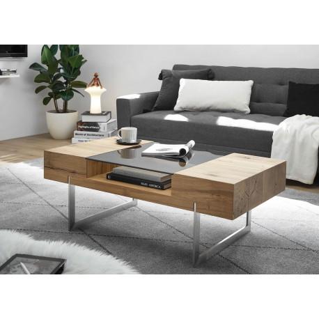 Table basse plaqué chêne avec niche de rangement