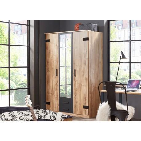 Armoire 3 portes avec miroir et 2 tiroirs coloris chêne et graphite
