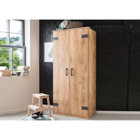 Armoire dressing 2 portes coloris chêne et graphite