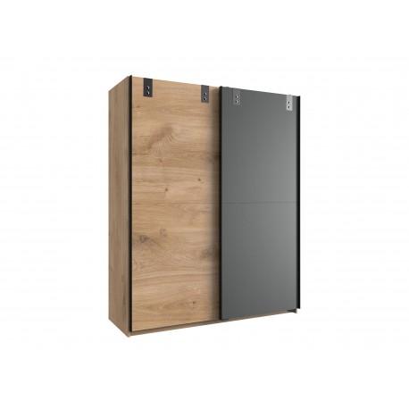 Armoire 2 portes coulissantes coloris chêne et graphite