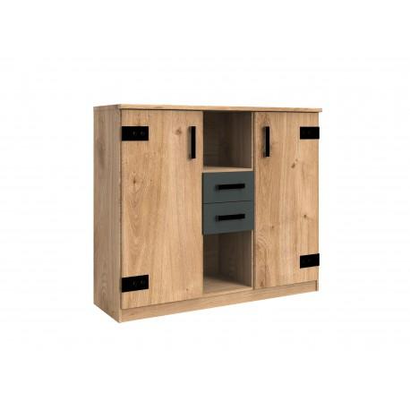 Buffet de rangement 2 portes, 2 tiroirs et 2 compartiments