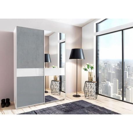 Armoire moderne 135 ou 180 cm 2 portes coulissantes gris béton et verre blanc